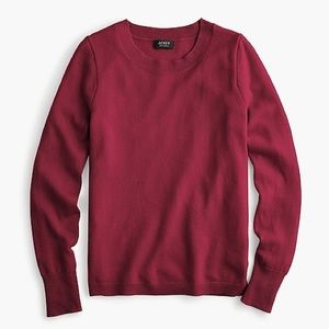 J Crew Cashmere Crew Sweater in Burgundy